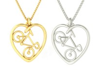 Road Bike Heart Necklace